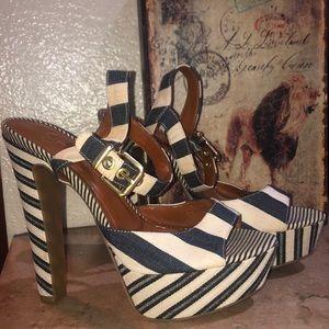 Navy blue cream Stripes Jessica Simpson platforms